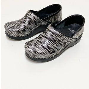 Dansko Black And Silver Striped Clog Size 37